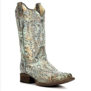 Last one! Corral Teal Metallic Cowboy Boots women